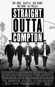 This is a poster for Straight Outta Compton. The poster art copyright is believed to belong to the distributor of the film, Universal Pictures, the publisher of the film or the graphic artist.