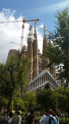 Outside Sagrada Familia, still under construction.