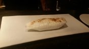 "Their take on ""baked Alaska"". There is ice cream inside that little burrito thing."
