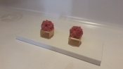 Potato cube with wagyu tartare.